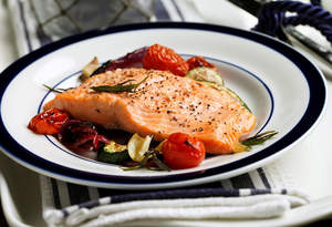 Broiled Trout with Lemon Oil and Oven-Grilled Vegetables