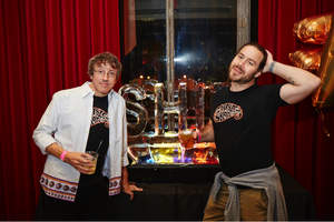 Big Brother's Sean Cliver and Jackass' Chris Pontius take a moment to grab a drink and pose for a quick one