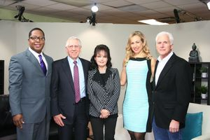 On the set of MI Healthy Mind are, from l. to r., Michael Hunter, show co-host; Dr. John Greden, exec. director of the University of Michigan Comprehensive Depression Center; Wally Prechter, founder of the Heinz C. Prechter Bipolar Research Fund; co-host Elizabeth Atkins; and Bryan Timlin, patient advocate for bipolar research at UMDC.
