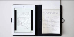 Handwritten notes and a tablet