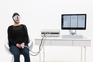 Dedicated glasses transmit low-dose alternating current to the retina.
