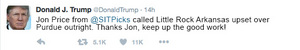 Donal Trump March Madness Tweet about Jon Price