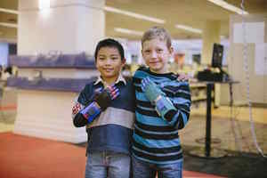 Peyton and Luke bond over their 3D-printed hands.