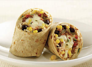 Beef Burrito with Pepper Jack Cheese and Black Beans