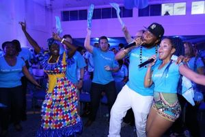 Flow Ambassadors Shanta Prince (right) and Peter Ram in action at the Flow brand Launch in Barbados in July 2015.