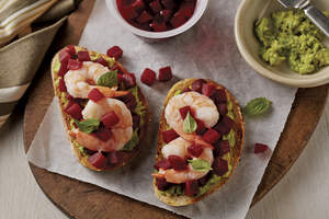 Beet, Shrimp and Avocado Tartine