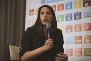 Angela Baker, Senior Manager at Wireless Reach at Qualcomm at the Digital Media Zone powered by PVBLIC Foundation:United Nations HQ, April 21st, 2016