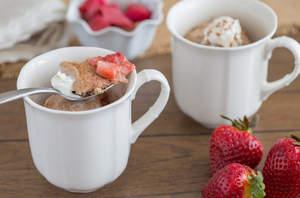 Strawberry Rhubarb Cobbler in a Mug