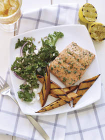 Cedar Plank Grilled Salmon with Sweet Potatoes
