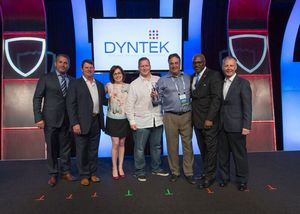 DynTek's chief executive officer, Ron Ben-Yishay, and VP of Security Solutions, Steve Struthers, accept their Partner of the Year award from the Intel Security channel Team.