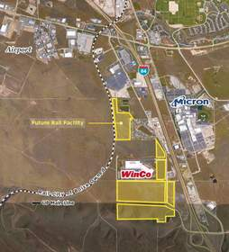 Cushman & Wakefield/Commerce is marketing 275 acres of industrial property (outlined in yellow) on behalf of the City of Boise. The land is adjacent to WinCo, Southeast of the Boise Airport.