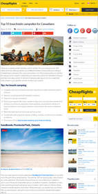 Cheapflights.ca Top 10 beachside campsites for Canadians, travel with camping gear