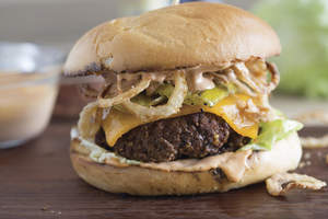 Cowboy Burger with Grilled Pickles and Crispy Onion Straws