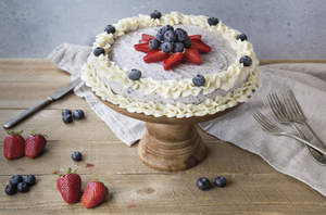 Blueberry Vanilla Ice Cream Cake with Cream Cheese Frosting