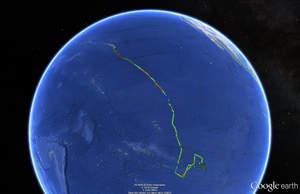 Wave Glider 2802 nautical miles journey (Google Maps)