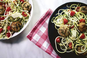 Grilled Meatballs and Zoodles
