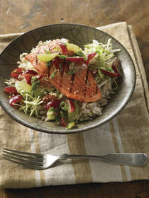 Grilled Ginger Salmon and Grape Rice Bowl