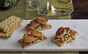 Sauteed Corn, Feta, Cherry Tomato and Scallop Crackers