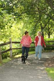 Wearing comfortable shoes and clothing make walks more enjoyable for loved ones.