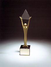 The Stevie Award trophy