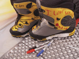 ski boots and sharpies