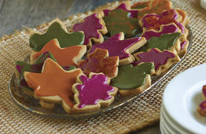 Glazed Autumn Leaf Cookies