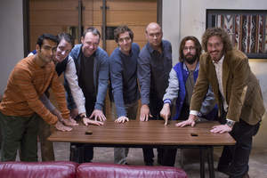 The cast, creator and producer of HBO's 'Silicon Valley' with a signed VARIDESK.