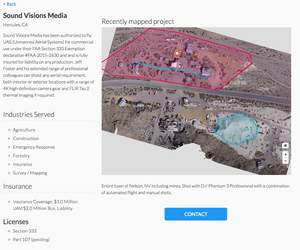 Example of DroneDeploy's Drone Mapping Directory.