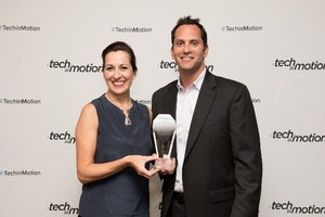 Senior vice president of strategy and business development at Technossus, Brian Goodman, and Technossus business analyst, Maria Amrhein accept the Timmy award for Orange County and San Diego's best technology work culture 2016.