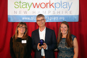 Appcast CEO Chris Forman accepts Coolest Companies for Young Professionals Award from Stay Work Play New Hampshire. Photo credit: Allegra Boverman Photography.