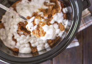 Slow Cooker Mashed Sweet Potatoes with Marshmallows