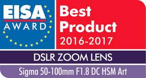 """Sigma's 50-100mm F1.8 Art was presented with the """"European DSLR Zoom Lens 2016-2017"""" award from EISA"""