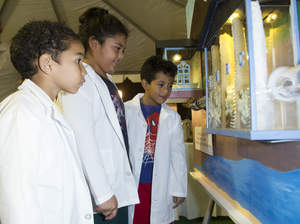 From left, Orlando Watkins, 6, Cindy Sarceno, 9, and Brandon Sarceno, 7, look at a 3D model that shows how water is recycled during America Recycles Day celebration, hosted by Sterling Natural Resource Center, Tuesday, Nov. 15, 2016 in San Bernardino, Calif. Photo/Sterling Natural Resource Center, Susan Goldman.