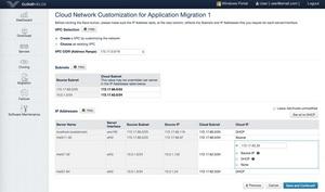 One Hybrid Cloud 3.0 Screen Shot: Cloud Network Optimization for Application Migration
