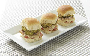 Hawaiian Sliders with Cheese, Ham and Pork
