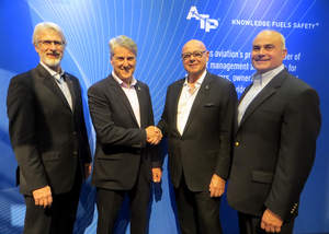 From left to right: Chris Lewis, Chief Operating Officer, CaseBank Technologies, Phil D'Eon, President and Chief Technology Officer, CaseBank Technologies, Charles Picasso, Chief Executive Officer, Aircraft Technical Publishers (ATP), and Ken Aubrey, Chief Revenue Officer, Aircraft Technical Publishers (ATP)
