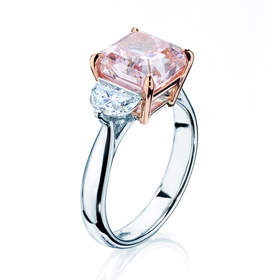 A fancy 4.05cts intense purple pink cut-cornered square diamond