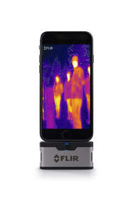 A thermal camera attachment for smartphones detects heat and sees in the dark