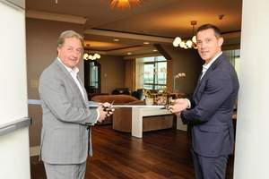 Ribbon cutting for the re-opening of the Ritz-Carlton Club® Level with Mr. Herve Humler, President & COO at The Ritz-Carlton Hotel Company LLC, and Sase Gjorsovski, General Manager of The Ritz-Carlton, South Beach.