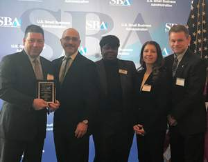 Pictured left to right:  Andrew Glatz, Senior Managing Director and Head of Peapack-Gladstone Bank's SBA Lending Division, members of the New Jersey Small Business Administration, and Ana Ribeiro, Vice President, Senior Loan Administrator and David Clerkin, Vice President, Senior Loan Specialist at Peapack-Gladstone Bank