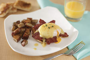 Eggs Benedict with Duck Bacon
