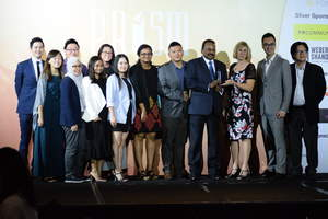 PSB Academy Executive Chairman Viva Sinniah (4th from right) and staff with Professor Anne Gregory, Immediate Past Chair, Global Alliance (3rd from right) at the IPRS PRISM Awards 2017, where PSBA was recognised for its Overall Outstanding Corporate Reputation Programme.