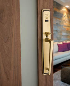 Baldwin Evolved, the next generation of smart handlesets and deadbolts blending exquisite architectural designs with Kevo technology.