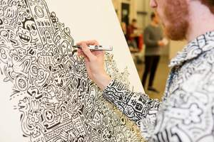 Artist Mr.Doodle draws artwork made from Air-Ink™ (Image credit - John Sanders photography)