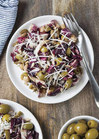 Radicchio Salad with Olives, Chickpeas and Parmesan