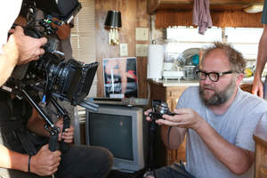 """The Sigma 18-35mm T2 Cine Lens being used in the close quarters of a trailer to shoot """"blur"""""""
