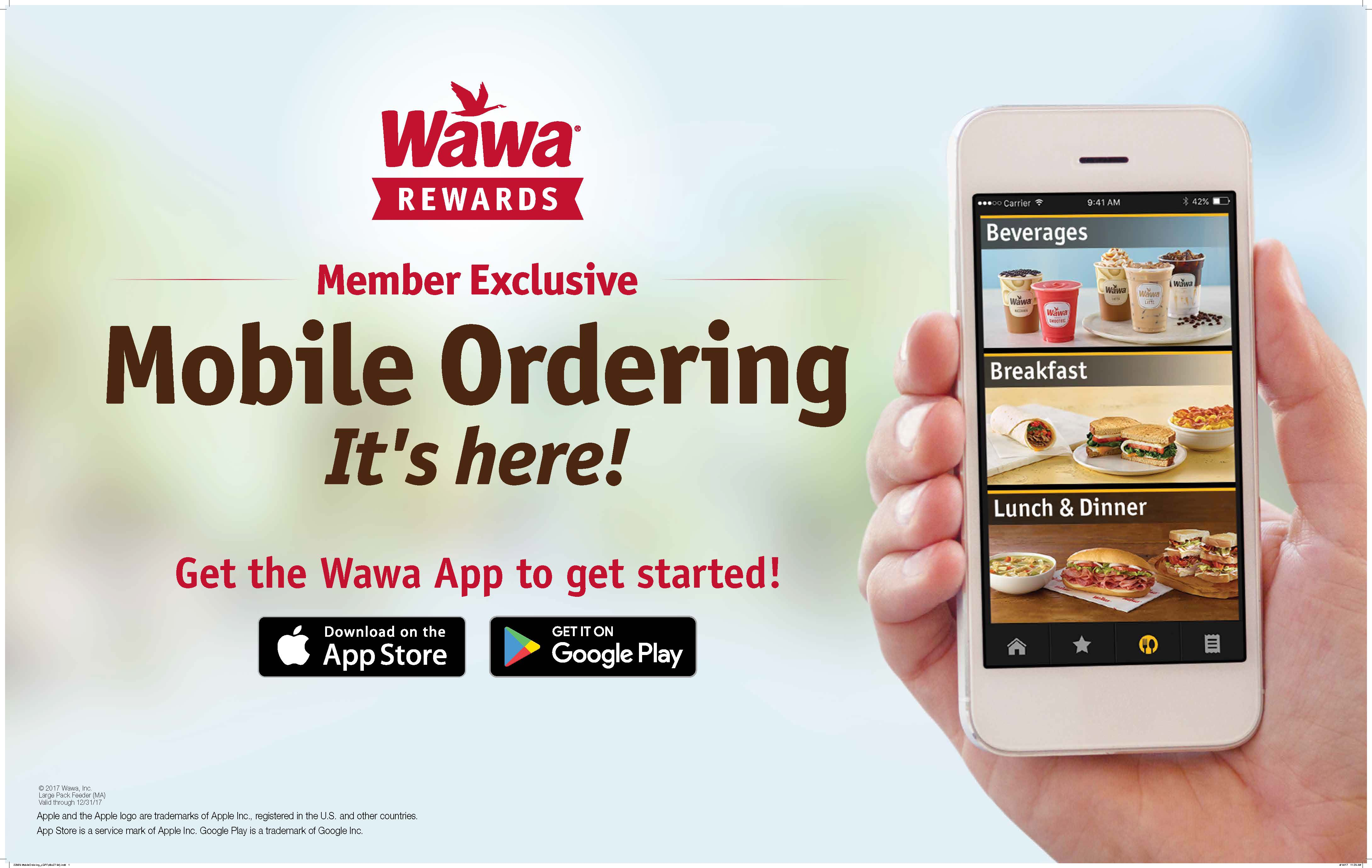 Easier to order. Easier to pay. All with the NEW Wawa App. Make your next Wawa run even more convenient with the new Wawa App! With features like simplified mobile ordering, it's easier than ever to browse the menu, order (and reorder) favorites, and see what's new.