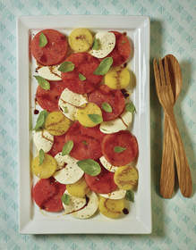 Watermelon Caprese Salad with Balsamic Vinegar Reduction