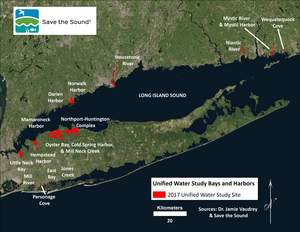 Save the Sound 'Unified Water Study' 2017 water quality test sites in Long Island Sound