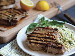 Grilled Lemon-Basil Pork Chops with Lemon-Basil Orzo